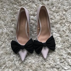 Zara light pink shoes with big black bow